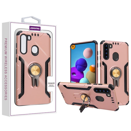 Asmyna Hybrid Protector Cover (with Ring Stand) for Samsung Galaxy A21 - Rose Gold / Black