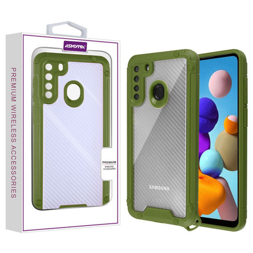 Asmyna Hybrid Case for Samsung Galaxy A21 - Transparent Clear Carbon Fiber Texture / Green