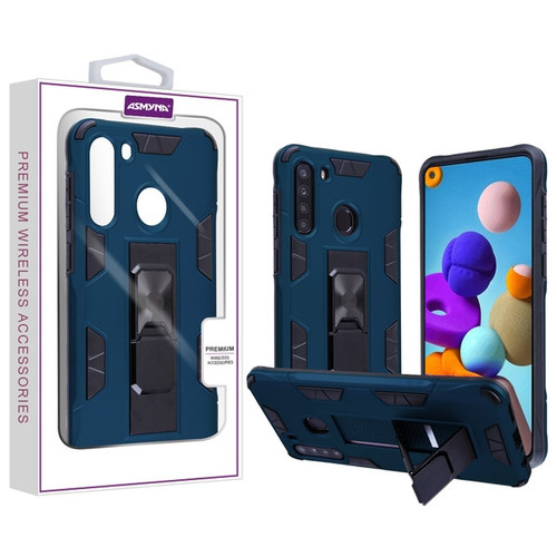 Asmyna Hybrid Case (with Stand) for Samsung Galaxy A21 - Ink Blue / Black