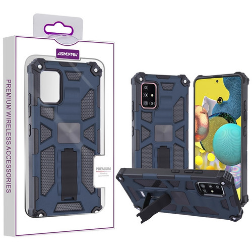 Asmyna Sturdy Hybrid Protector Cover (with Stand) for Samsung Galaxy A51 5G - Ink Blue / Black