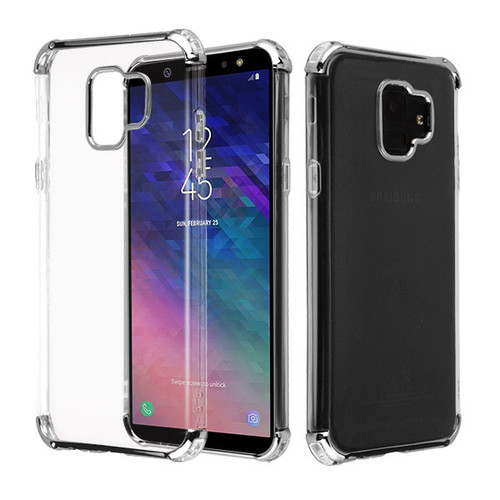 Asmyna Klarion Candy Skin Cover for Samsung Galaxy A6 (2018) - Electroplating Silver / Transparent Clear