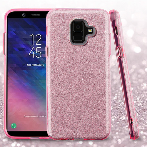 Asmyna Full Glitter Hybrid Protector Cover for Samsung Galaxy A6 (2018) - Pink