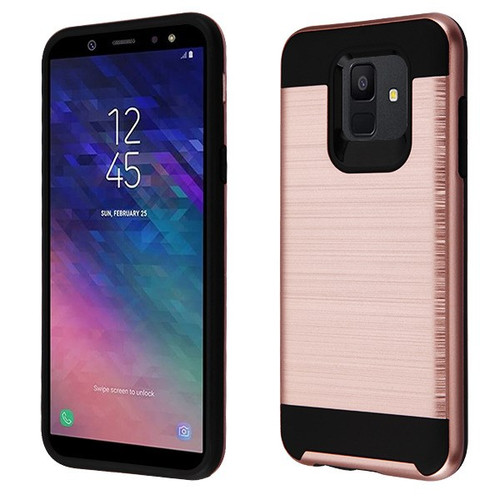 Asmyna Brushed Hybrid Protector Cover for Samsung Galaxy A6 (2018) - Rose Gold / Black