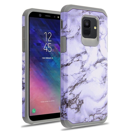Asmyna Astronoot Protector Cover for Samsung Galaxy A6 (2018) - White Marbling / Iron Grey