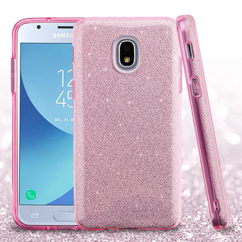 Asmyna Full Glitter Hybrid Protector Cover for Samsung J337 (Galaxy J3 (2018)) - Pink