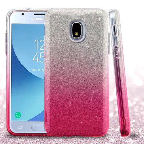 Asmyna Gradient Glitter Hybrid Protector Cover for Samsung J337 (Galaxy J3 (2018)) - Pink