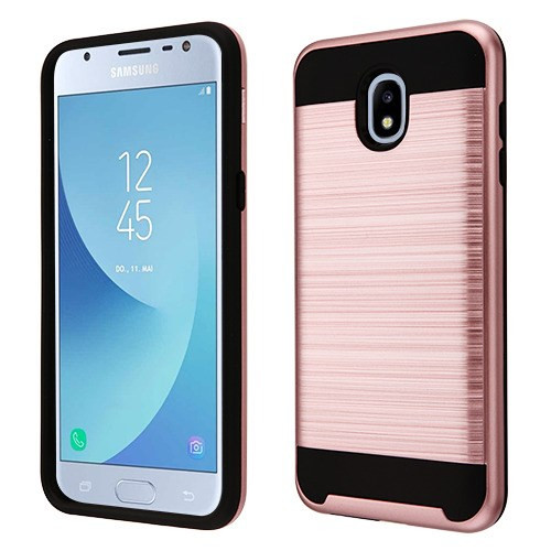 Asmyna Brushed Hybrid Protector Cover for Samsung J337 (Galaxy J3 (2018)) - Rose Gold / Black