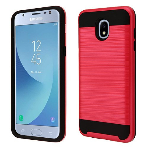 Asmyna Brushed Hybrid Protector Cover for Samsung J337 (Galaxy J3 (2018)) - Red / Black