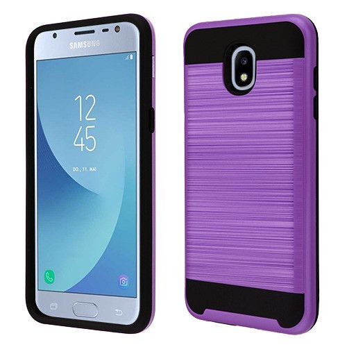 Asmyna Brushed Hybrid Protector Cover for Samsung J337 (Galaxy J3 (2018)) - Purple / Black
