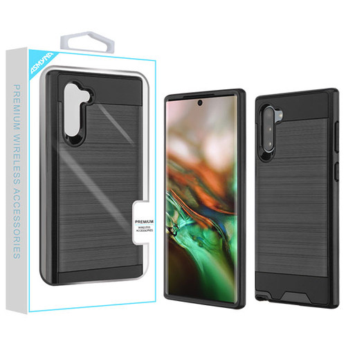 Asmyna Brushed Hybrid Protector Cover for Samsung Galaxy Note 10 (6.3) - Black / Black