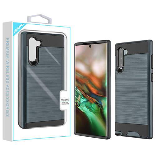 Asmyna Brushed Hybrid Protector Cover for Samsung Galaxy Note 10 (6.3) - Ink Blue / Black