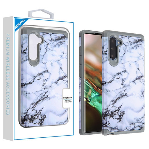 Asmyna Astronoot Protector Cover for Samsung Galaxy Note 10 (6.3) - White Marbling / Iron Grey
