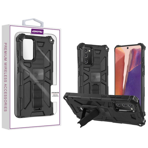 Asmyna Sturdy Hybrid Protector Cover (with Stand) for Samsung Galaxy Note 20 - Black / Black