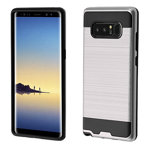 Asmyna Brushed Hybrid Protector Cover for Samsung Galaxy Note 8 - Silver / Black