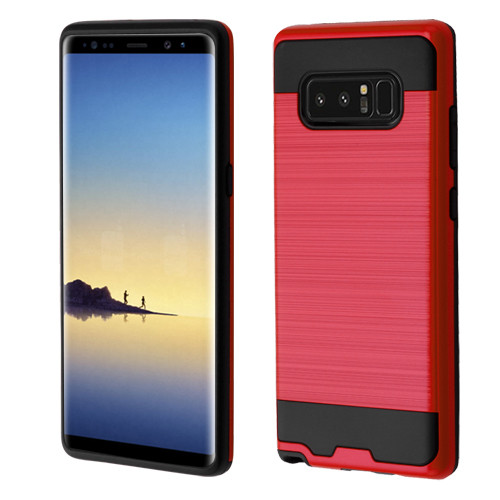 Asmyna Brushed Hybrid Protector Cover for Samsung Galaxy Note 8 - Red / Black
