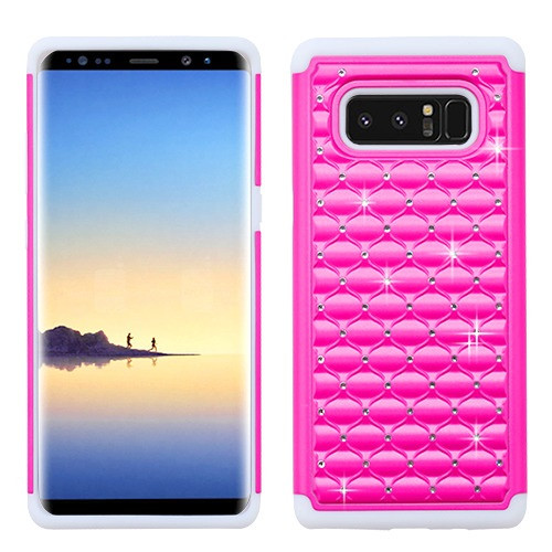Asmyna FullStar Protector Cover for Samsung Galaxy Note 8 - Hot Pink / Solid White