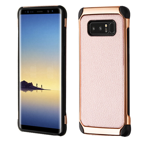Asmyna Astronoot Protector Cover for Samsung Galaxy Note 8 - Rose Gold Lychee Grain(Rose Gold Plating) / Black