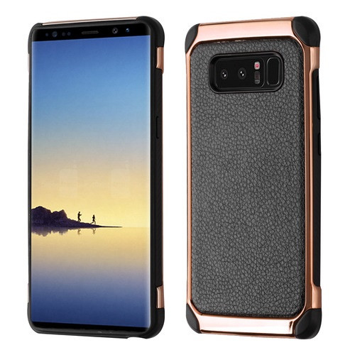 Asmyna Astronoot Protector Cover for Samsung Galaxy Note 8 - Black Lychee Grain(Rose Gold Plating) / Black