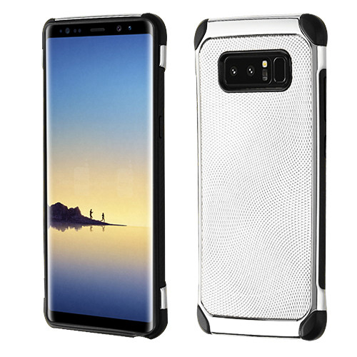 Asmyna Astronoot Protector Cover for Samsung Galaxy Note 8 - Silver Dots(Silver Plating) / Black