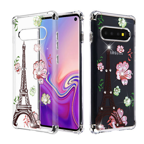 Asmyna Diamante Klarion Candy Skin Cover for Samsung Galaxy S10 - Electroplating Silver / Eiffel Tower in the Season of Blooming