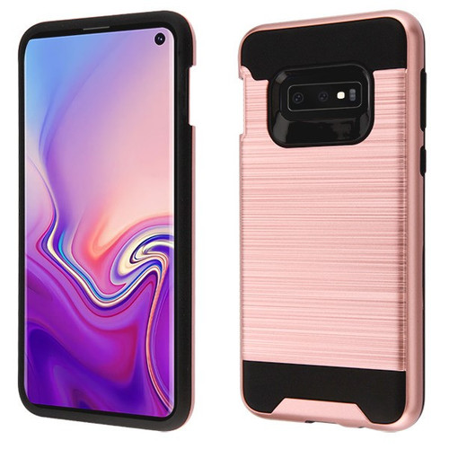 Asmyna Brushed Hybrid Protector Cover for Samsung Galaxy S10E - Rose Gold / Black
