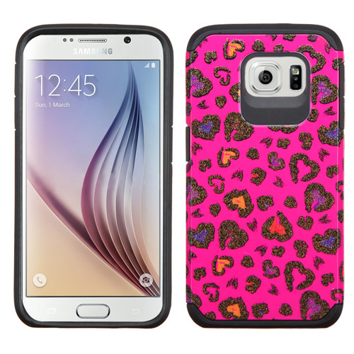 Asmyna Advanced Armor Protector Cover for Samsung G920 (Galaxy S6) - Colorful Glittering Leopard Skin(Hot Pink) / Black