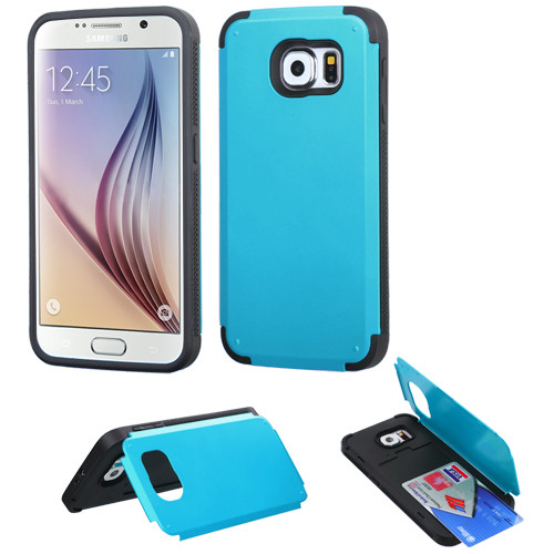 Asmyna Advanced Armor Stand Protector Cover (with Card Wallet) for Samsung G920 (Galaxy S6) - Tropical Teal Inverse