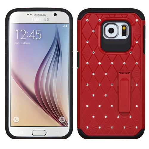 Asmyna Luxurious Lattice Elite Dazzling Stand Hybrid Protector Cover with Diamonds for Samsung G920 (Galaxy S6) - Red / Black