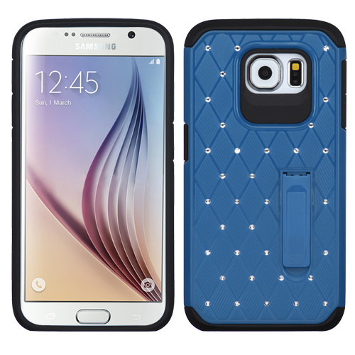 Asmyna Luxurious Lattice Elite Dazzling Stand Hybrid Protector Cover with Diamonds for Samsung G920 (Galaxy S6) - Blue / Black