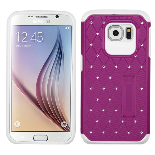 Asmyna Hybrid Protector Cover with Diamonds for Samsung G920 (Galaxy S6) - Hot Pink / White Luxurious Lattice Elite Dazzling Stand