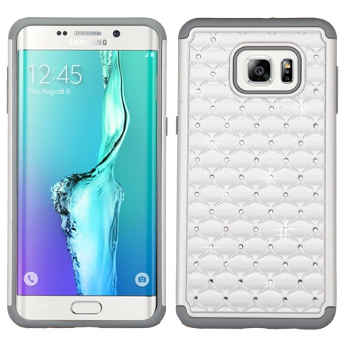 Asmyna FullStar Protector Cover for Samsung Galaxy S6 edge Plus - Pearl White / Gray