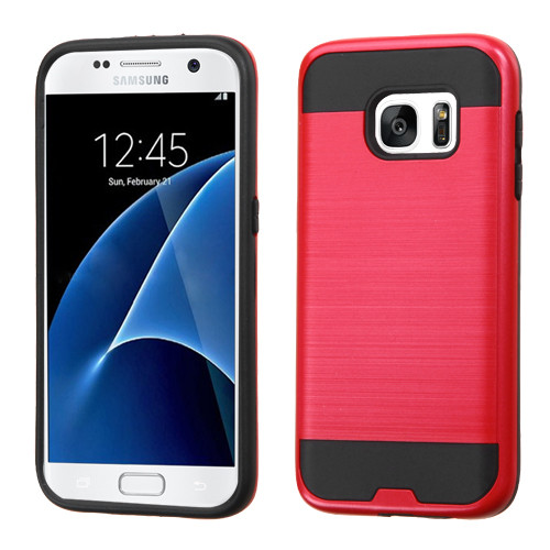 Asmyna Brushed Hybrid Protector Cover for Samsung G930 (Galaxy S7) - Red / Black