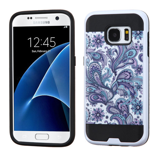 Asmyna Brushed Hybrid Protector Cover for Samsung G930 (Galaxy S7) - Purple European Flowers / Black