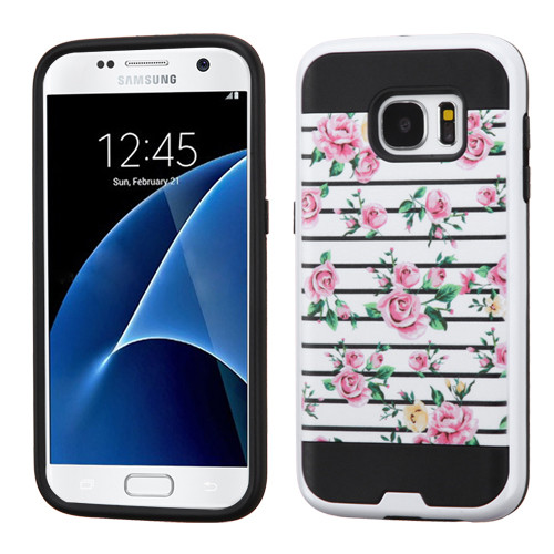 Asmyna Brushed Hybrid Protector Cover for Samsung G930 (Galaxy S7) - Pink Fresh Roses / Black