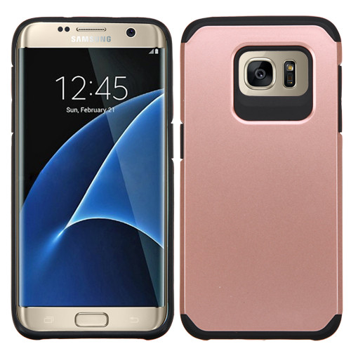 Asmyna Astronoot Protector Cover for Samsung G935 (Galaxy S7 Edge) - Rose Gold / Black