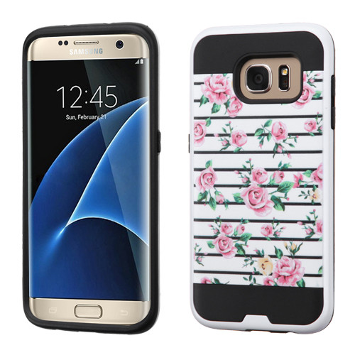 Asmyna Brushed Hybrid Protector Cover for Samsung G935 (Galaxy S7 Edge) - Pink Fresh Roses / Black