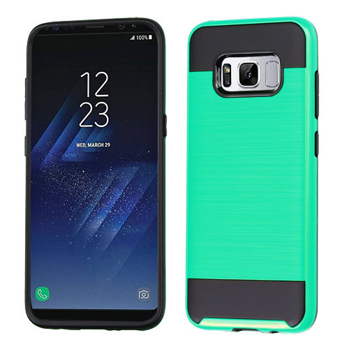 Asmyna Brushed Hybrid Protector Cover for Samsung Galaxy S8 Plus - Green / Black