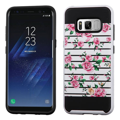 Asmyna Brushed Hybrid Protector Cover for Samsung Galaxy S8 Plus - Pink Fresh Roses / Black