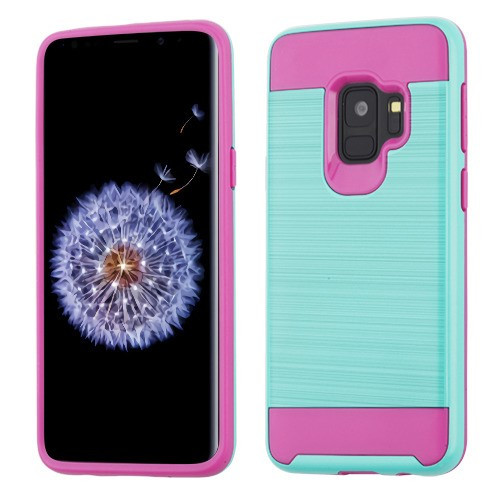 Asmyna Brushed Hybrid Protector Cover for Samsung Galaxy S9 - Teal Green / Hot Pink