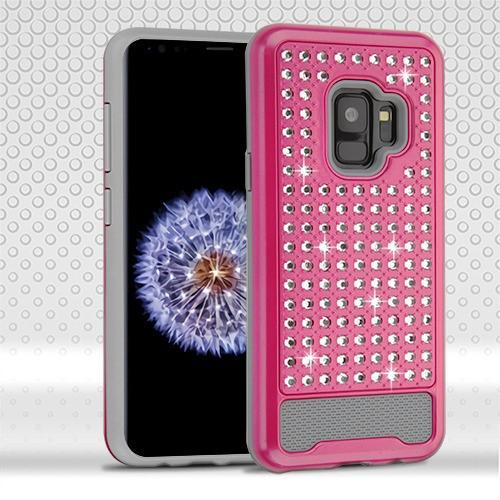 Asmyna Diamante FullStar Protector Cover for Samsung Galaxy S9 - Hot Pink / Iron Gray
