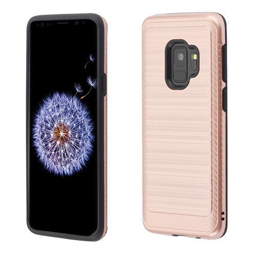 Asmyna Brushed Hybrid Protector Cover (with Carbon Fiber Accent) for Samsung Galaxy S9 - Rose Gold / Black