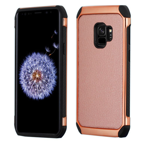 Asmyna Astronoot Protector Cover for Samsung Galaxy S9 - Rose Gold Lychee Grain(Rose Gold Plating) / Black