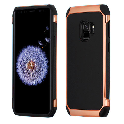 Asmyna Astronoot Protector Cover for Samsung Galaxy S9 - Black Lychee Grain(Rose Gold Plating) / Black
