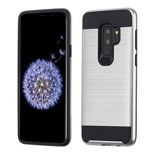 Asmyna Brushed Hybrid Protector Cover for Samsung Galaxy S9 Plus - Silver / Black