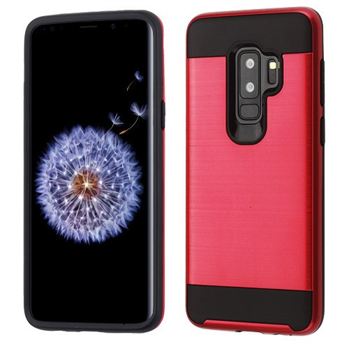 Asmyna Brushed Hybrid Protector Cover for Samsung Galaxy S9 Plus - Red / Black