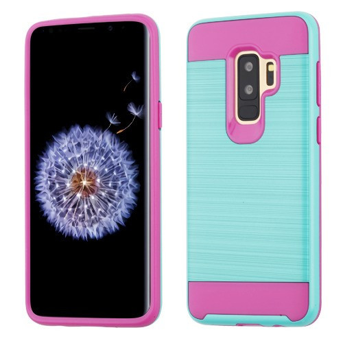 Asmyna Brushed Hybrid Protector Cover for Samsung Galaxy S9 Plus - Teal Green / Hot Pink