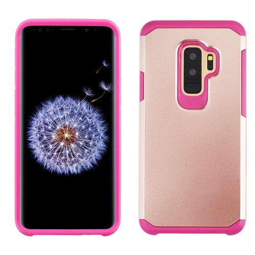 Asmyna Astronoot Protector Cover for Samsung Galaxy S9 Plus - Rose Gold / Hot Pink