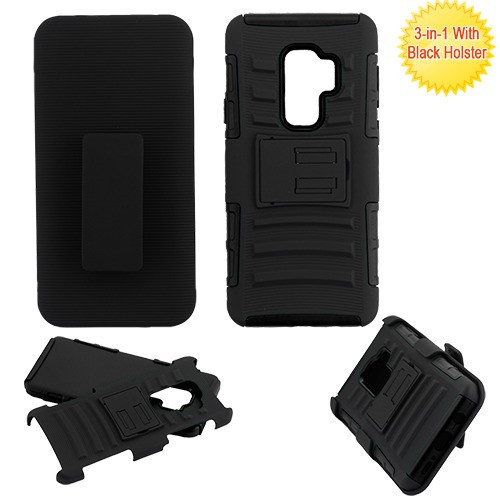 Asmyna Advanced Armor Stand Protector Cover Combo (with Black Holster) for Samsung Galaxy S9 Plus - Black / Black