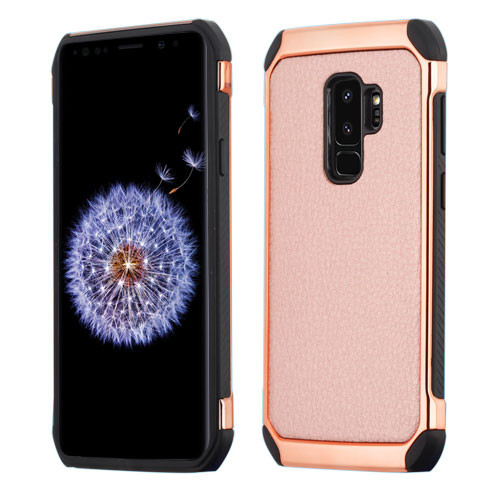 Asmyna Astronoot Protector Cover for Samsung Galaxy S9 Plus - Rose Gold Lychee Grain(Rose Gold Plating) / Black