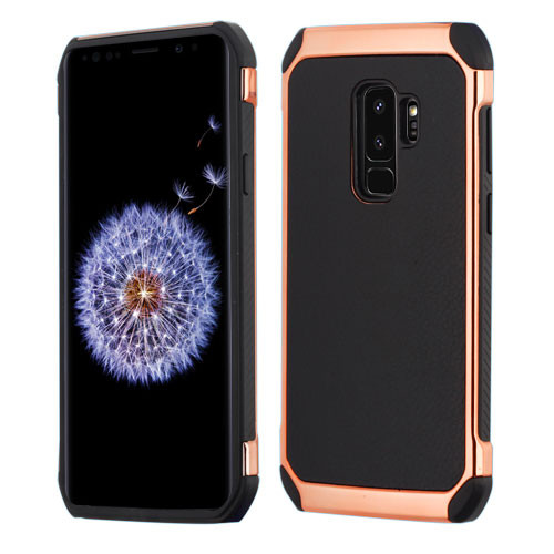 Asmyna Astronoot Protector Cover for Samsung Galaxy S9 Plus - Black Lychee Grain(Rose Gold Plating) / Black